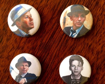 """Frank Sinatra 1"""" Pin Back Button and Magnet Set of 4"""