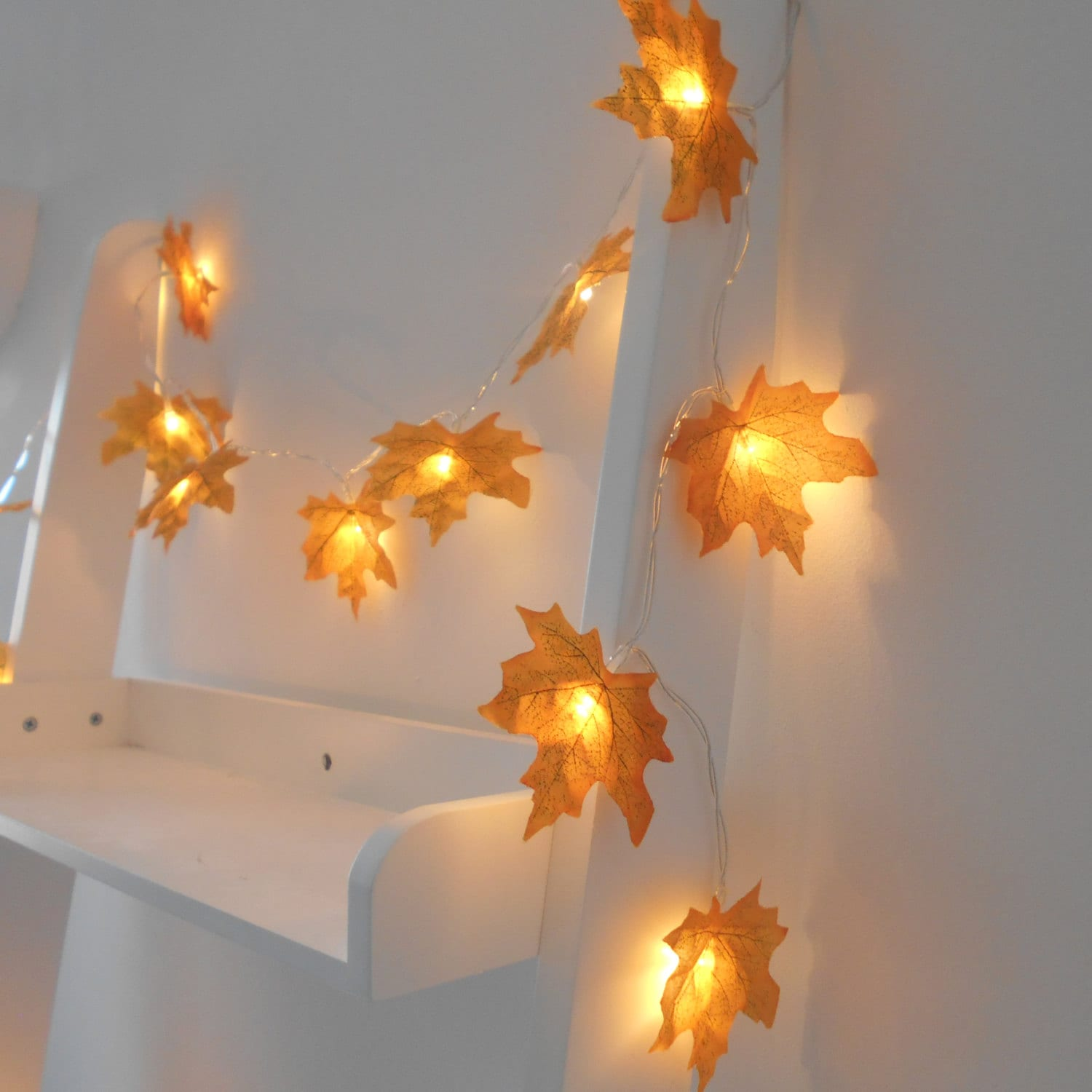 Golden Autumn Leaves Fairy String Lights LED by AutumnWeddings