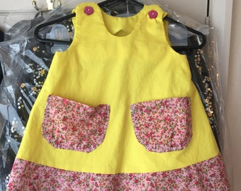 Handmade toddler yellow summer dress 12-18months