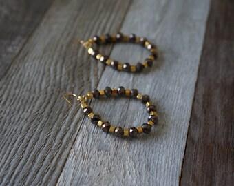 Bronze and Gold Beaded Hoop Earrings, Beaded Hoop Earrings, Teardrop Beaded Earrings, Brown and Gold Hoops, Large Beaded Hoops