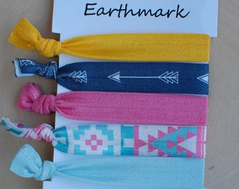 Aztec Hairbands 5-pack | Fold Over Elastic Hairties | FOE Hair ties | No Crease Hair bands | ponytail holders | Tribal Bracelets