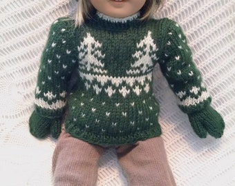 American girl doll sweater xmas trees - green