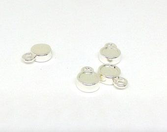 2 Rhinestone Settings Flatback, 7mm Drop Setting for Swarovski Rhinestone, Silver Plated Round Setting, Bezel Setting, Blank Pendant, TM5503