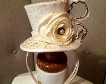 Teacup Hat, Princess Teacup Hat, fairy Tale hat, Mad hatter, Princess Top Hat, Mini Top Hat, Mini Fascinator, Teacup Mini Top hat