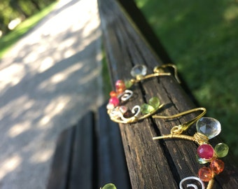 Summer garden>> Rainbow Gemstone Earrings Wrapped in 14k Gold Vermeil, Crystal Orange Quartz, Fuchsia Sapphire, Green Peridot