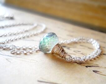 Tiny Mystic Topaz Necklace, Gemstone Pendant, November Birthstone, Wire Wrap Briolette Sterling Silver Delicate Jewelry