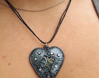Polymer clay Steampunk Heart Necklace.