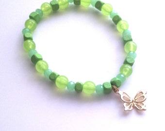 golden butterfly - beaded charm bracelet