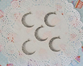 Silver Tone Moon Charms