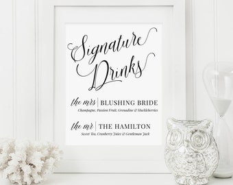 Signature Drinks Wedding Sign | Signature Drinks Printable | Customized Drinks Wedding Sign | Bar Sign | Wedding Sign | Drinks | MAM200_01