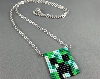 Creeper Necklace - Pixel Necklace Minecraft Necklace Pixel Jewelry 8 bit Necklace Seed Bead Neklace Video Game Necklace