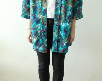 80s Vintage Buttonless Cyan Blouse Cardigan with Tropical Decoration for Women