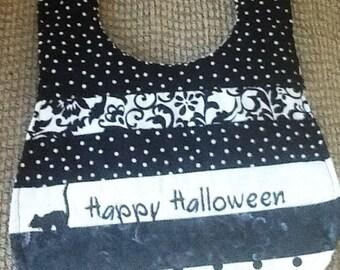 Happy Halloween bib with black cat, halloween bib, baby bib
