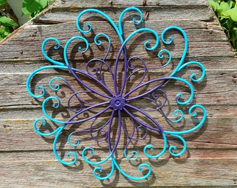 Large Wrought Iron Wall Decor / Shabby Chic Decor / Garden Decor / Metal Wall Decor / Flower Wall Art / Bedroom Wall Decor / Cottage Decor