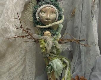 Mother Nature, Ooak art doll , Kitchen Goddess , Zen Spirit , Handmade Doll ,  Folk Art Doll, Decorative Art Doll, Wall Decor, Nature doll