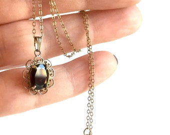 Vintage Gold and Garnet Necklace, Victorian Revival Pendant Charm, Faceted Dark Red Stone, Filigree Scallops, Fine Gold Chain, 14k Gold Fill