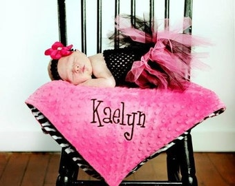 Personalized Baby Blanket. Baby Girl Blanket, Minky Dot and Zebra Blanket, Newborn Photo Prop, Minky Blanket for Baby Girl, Baby Shower Gift