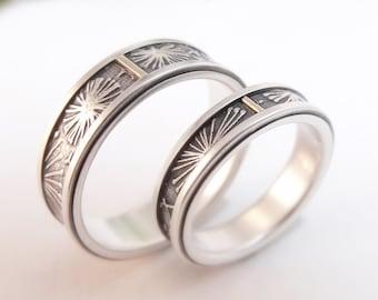 Wedding Band Set Sterling Silver Rings 10K Gold Wedding Ring