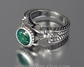 CARYATID Ring in Silver with Green Topaz