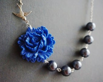 Beaded Necklace,Statement Necklace,Navy Blue Flower Necklace,Navy Blue Necklace,Grey Necklace,Bridesmaid Jewelry Set,Bridesmaid Gift,Gift