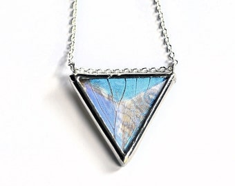 Real Butterfly Wing Necklace Pearl Morpho Faceted Jewel Triangle