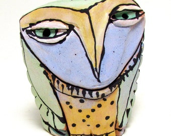 "Owl art, ceramic owl sculpture, whimsical, colorful owl figurine, 3-1/2"" tall, signed handmade owl art"