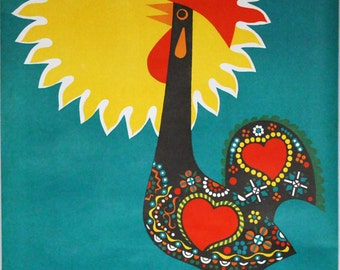 1960s Portugal Poster, Mid Century Bird Art, Barcelos Rooster, 1960s Wall Art, Original Lithograph, Graphic Sun Art, Turquoise Yellow Art