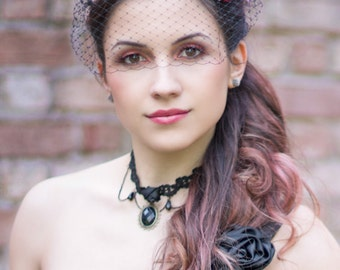 Black Birdcage Veil & Feather Hair Clip