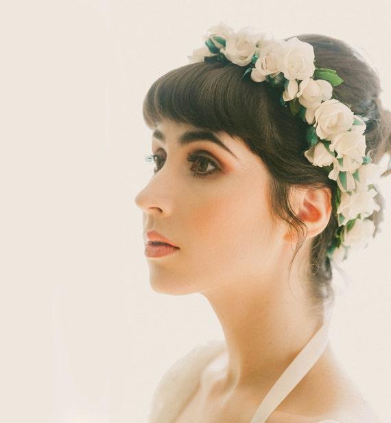 Flower crown, Bridal hair wreath, Ivory flower crown, White rose floral headpiece, Boho bridal crown, Wedding headpiece, WG06