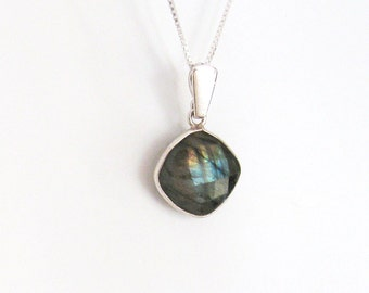 Labradorite Pendant, Checkerboard Facets, Sterling Silver, Cushion Shape Gemstone Iridescent Rainbow Colors, Geometric Necklace