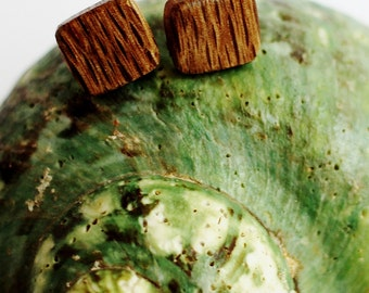 Tiny Post Wood Earrings Reclaimed Wood Earrings Sustainable Wooden Jewelry Small Wood Squares by Hendywood