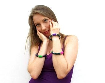 Fiber stacking bangles,urban pop rock bangles,textile bracelets,multicolour bangles,giada cortellini,gift for her,vegan,summer,set of three