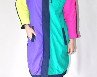 neon color blocking vintage ski jacket 80s vtg long insulated hipster winter coat small