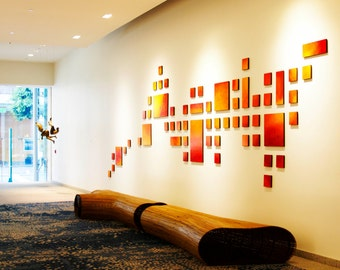 LARGE art installation | 'the San Francisco Sunset' | Geometric Custom Art Painted Wood Wall Sculpture | (corporate art) by Rosemary Pierce