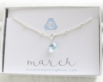 March Birthday Gift • Simple Aquamarine Necklace • Satellite Chain • Blue Aqua Birthstone • Light Blue Faceted • Teardrop Sky Blue Briolette