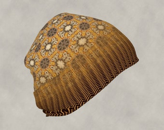 Gothic Cross and Herringbone Weave Beanie Hat, Blended Pattern All Over Print Head Wear, Warm Golden Yellow and Brown Colors