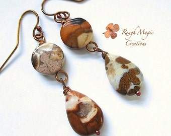 Long Earrings. Semi Precious Gemstones, Rustic Copper. Multi Color Brown and Cream Flower Agate Stone. Boho Chic Dangles. Extra Long Drops