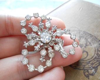 vintage flowery rhinestone brooch 1960s era costume jewelry for wear or repurpose