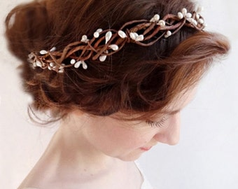 bridal headband, boho headband, bridal headpiece, boho chic prom, bridal hair vine, bridal headpiece, rustic wedding, bohemian headpiece
