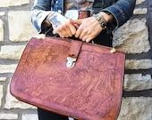 Vintage 1970s Hand Tooled Leather Satchel   Portfolio Briefcase Attache Bag Office Organize Mexican Folk Art   vtg ACCESSORIES   FOUND by LB