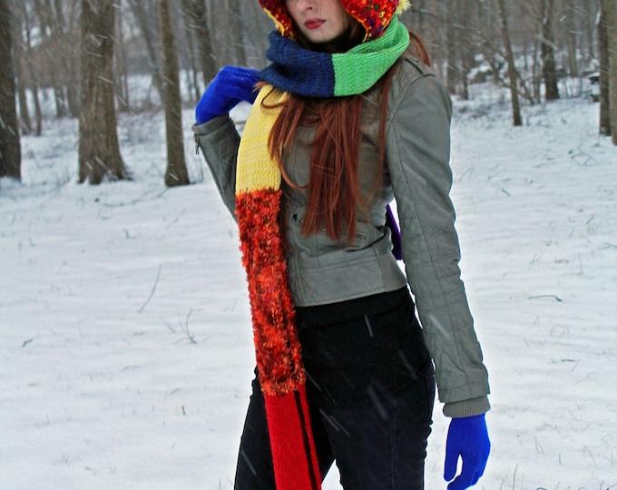 Rainbow Hooded Scarf  Chunky Snood Skood