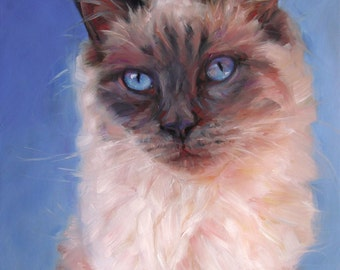 SiameseSplendor, Custom Cat Paintings, oil portraits from your photos, 8x10""