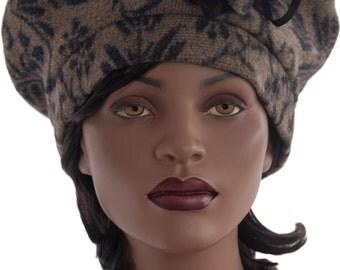 Wool Blend Beret Style Hat Tan Black Lined Hat Wool Blend Beret Hat Ladies Tam Hat Handmade