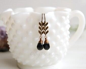 Chevron Earrings - Blue Tigers Eye Earrings - Black Stone Earrings - Black Chevron Earrings - Romantic - Boho Earrings - Chevron Chain