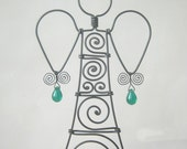 Wire Angel Ornament  In Green