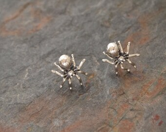 Silver Itsy Bitsy Spider Post Earrings