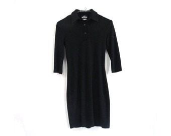 90s JODI KRISTOPHER Black Polo Collar Black Jersey Dress Small