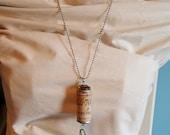 Vintage Button, Cork, and Filigree Pendant
