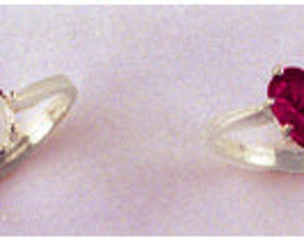 14kt. White Gold ~ 6x6mm Heart Faceted Ring setting ~ Custom sized from size 4 to size 12  ~ to be ordered ~ #631 ~  FDK