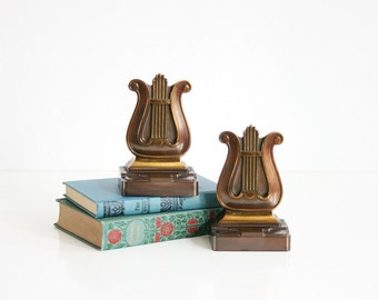 SALE - Vintage Brass and Copper Lyre Bookends / Art Deco Bookends by PMC / Brass Music Bookends / Mid Century Copper Bookends